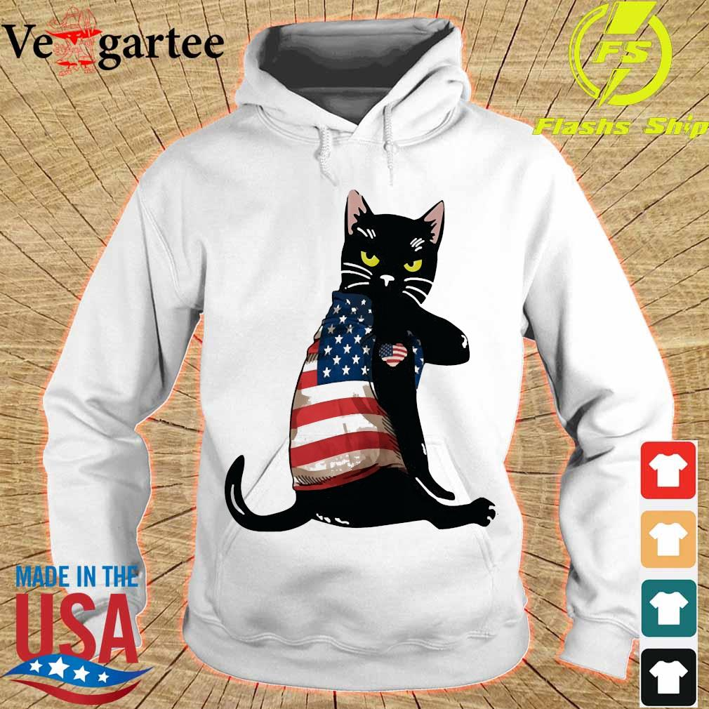 Black cat tattoo American flag hoodie