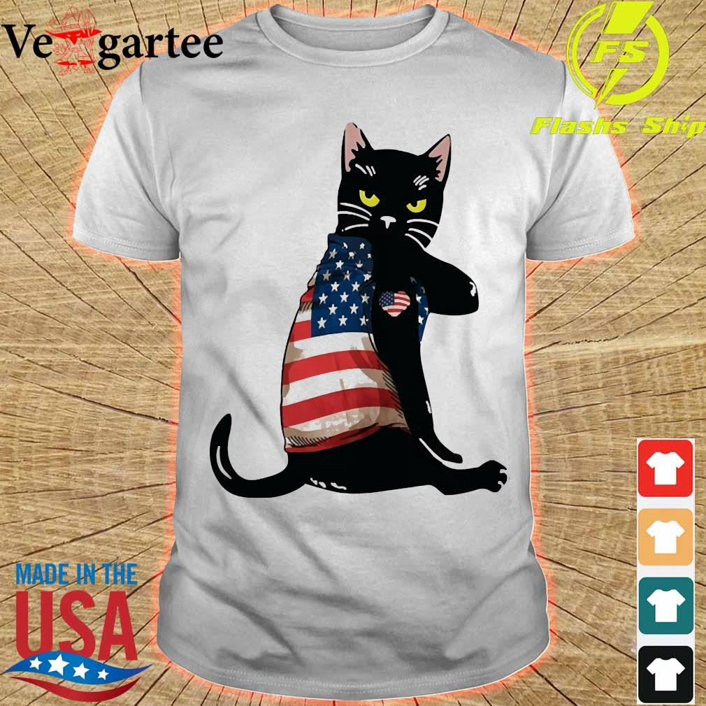 Black cat tattoo American flag shirt