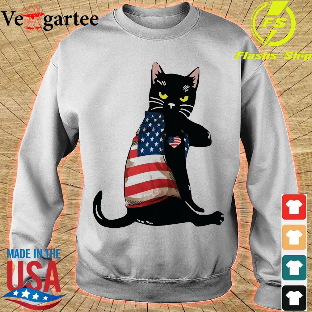 Black cat tattoo American flag sweater
