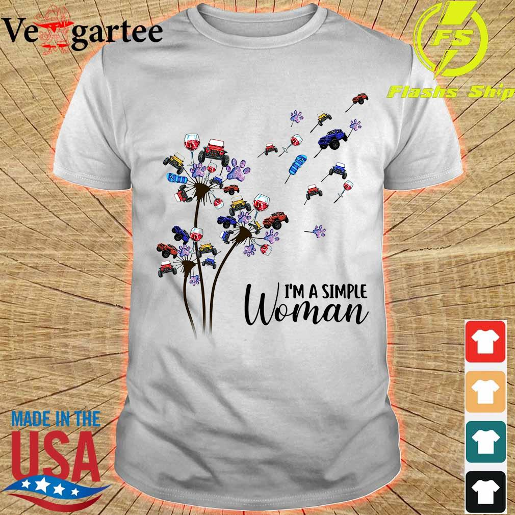 Jeep wine dog dandelion I'm a simple woman shirt