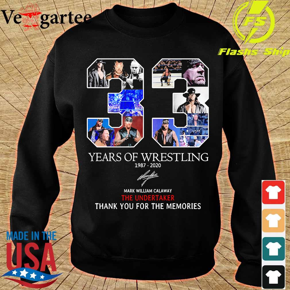 33 Years of Wrestling 1987 2020 thank You for the memories signature s sweater