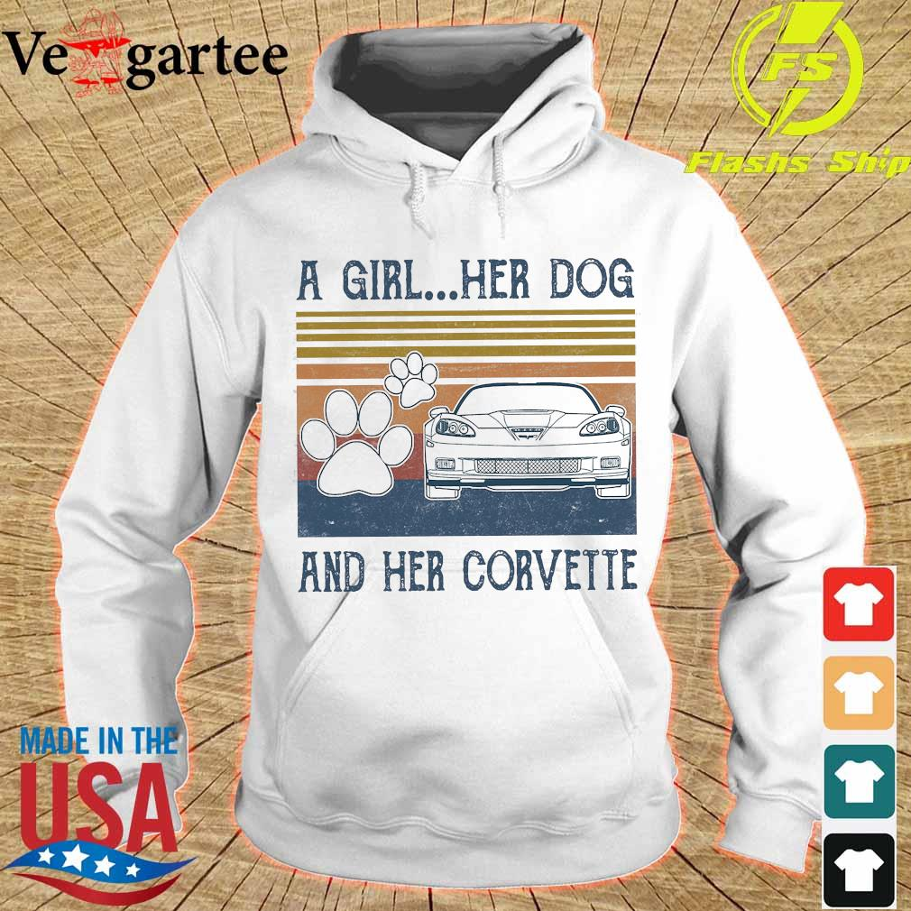 A girl Her dog and Her corvette vintage Shirt hoodie