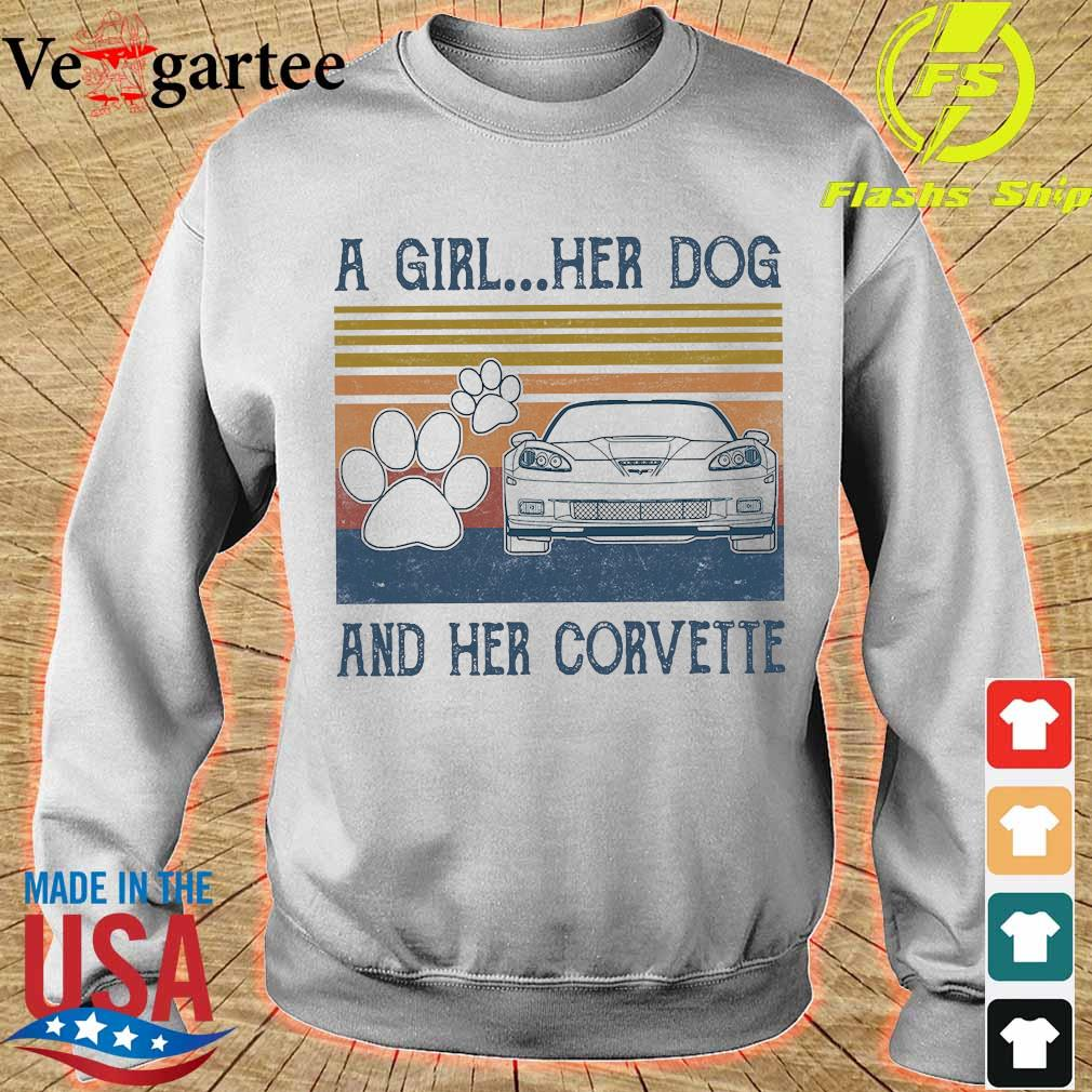 A girl Her dog and Her corvette vintage Shirt sweater