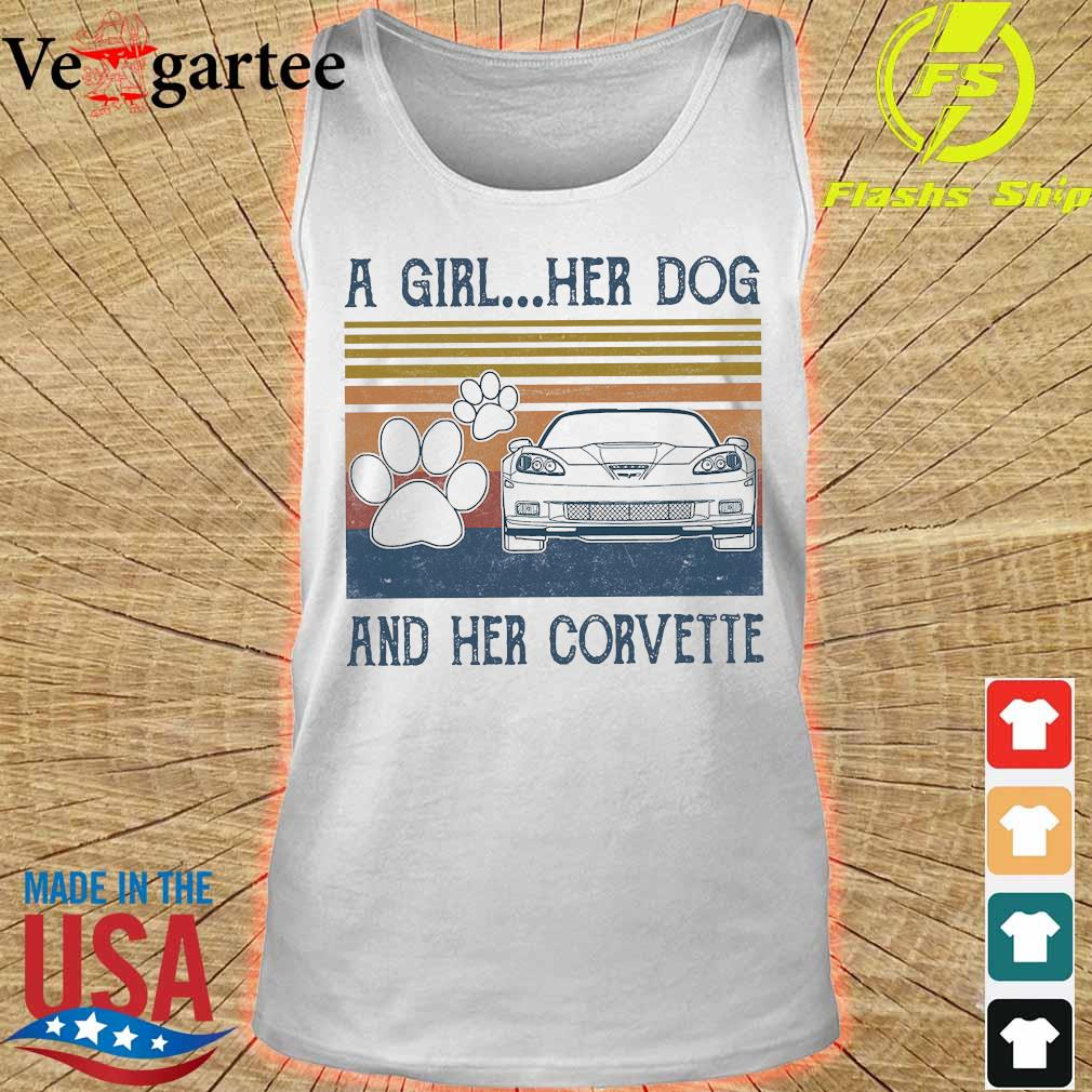 A girl Her dog and Her corvette vintage Shirt tank top