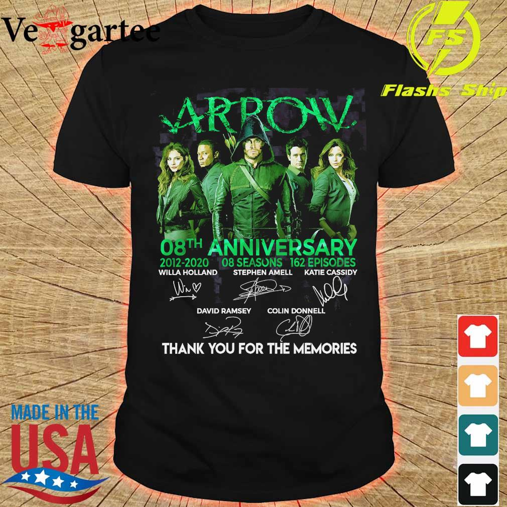 Arrow 08th anniversary 2012 2020 o8 seasons 162 episodes thank You for the memories signatures Shirt