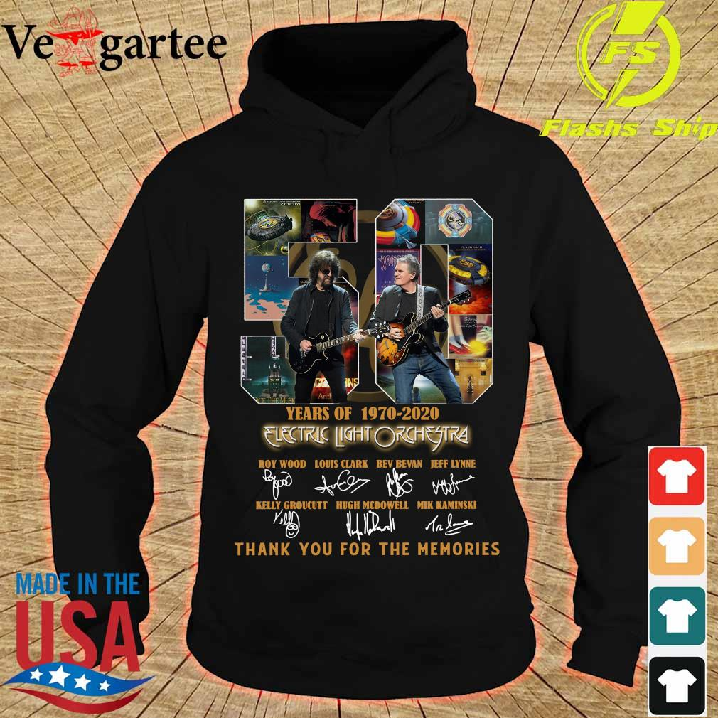 Electric Light Orchestra 50 Years of 1970 2020 thank You for the memories signatures s hoodie