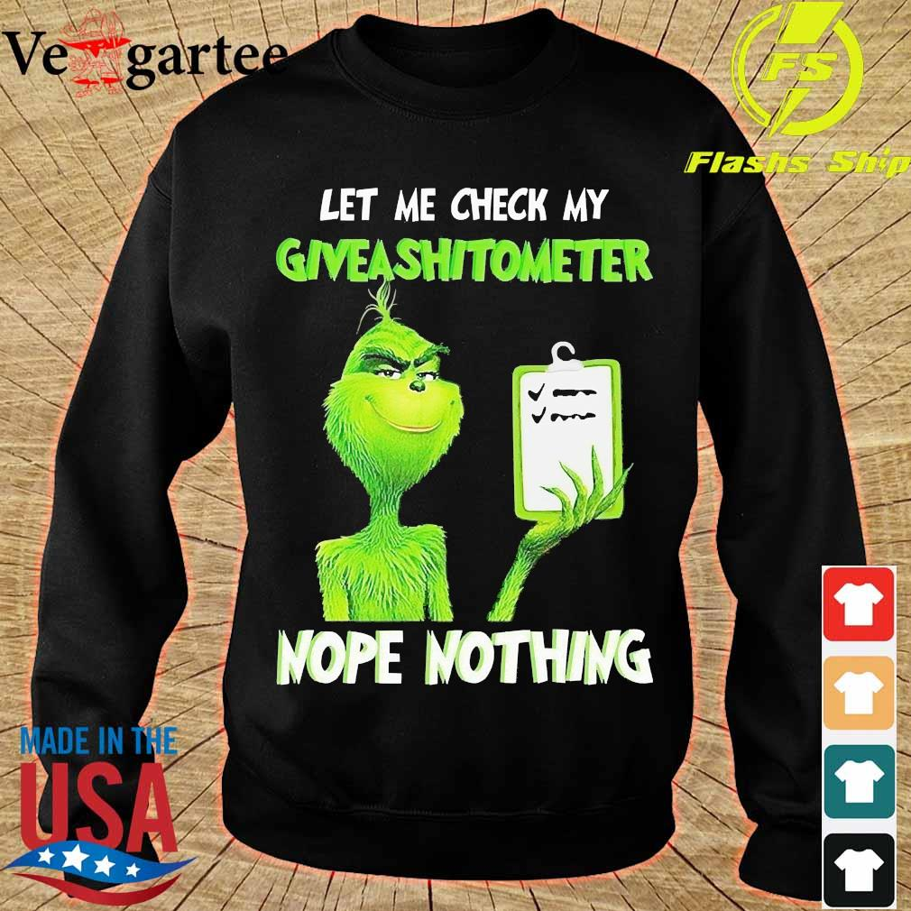 Grinch let Me check My give a shit ometer nope nothing Shirt sweater