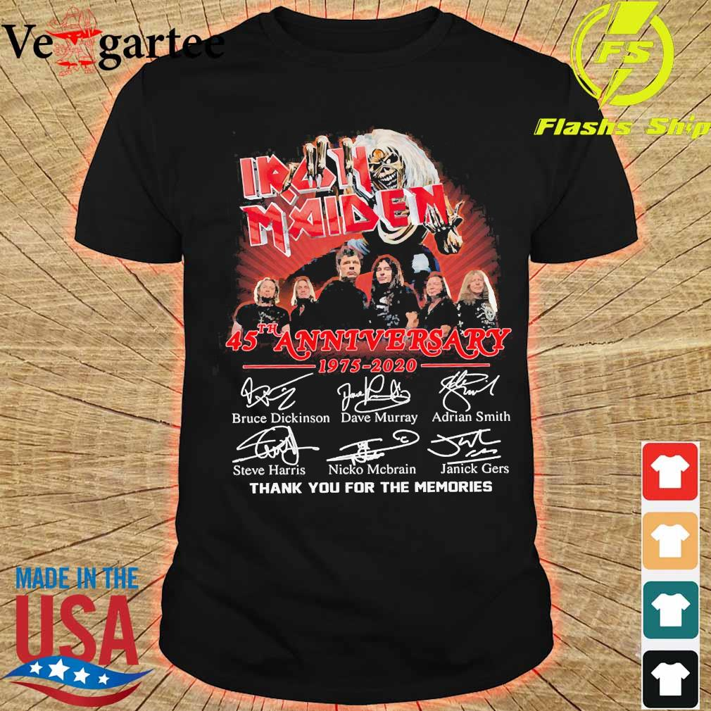Iran Maiden 45th anniversary 1975 2020 thank You for the memories signatures shirt