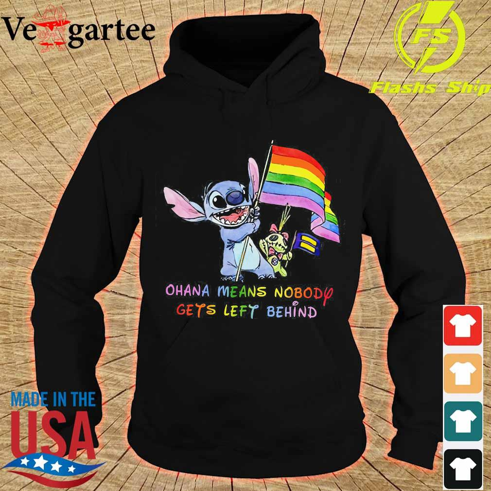 LGBT Stitch Ohana Means Nobody gets left behind flag Shirt hoodie