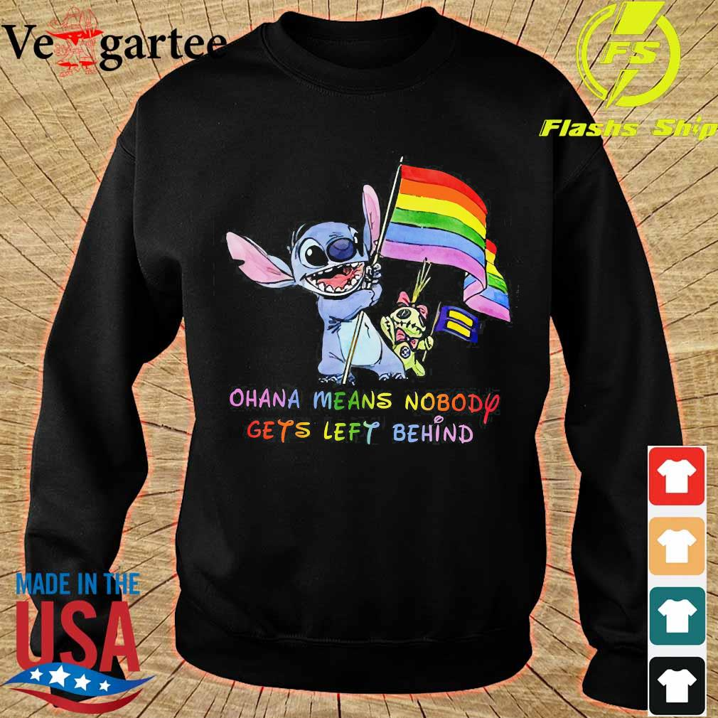 LGBT Stitch Ohana Means Nobody gets left behind flag Shirt sweater