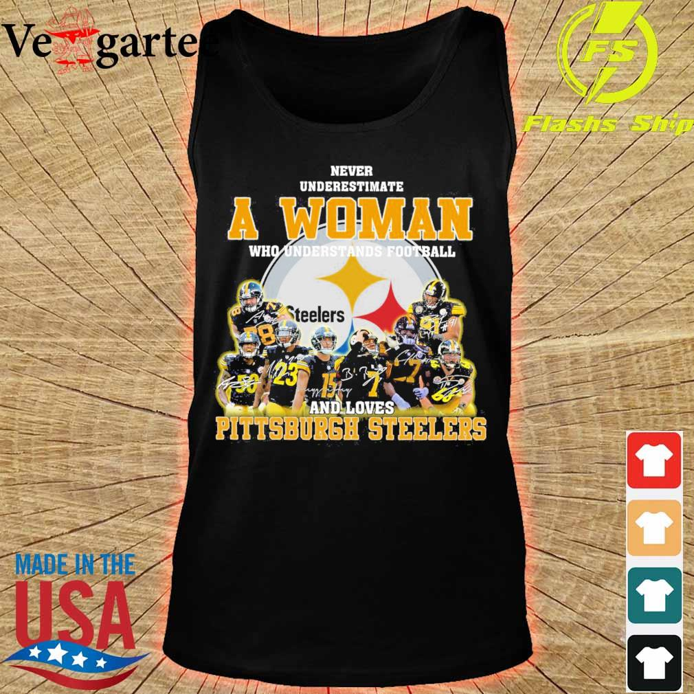 Never underestimate a woman who understands football and love Pittsburgh steelers s tank top