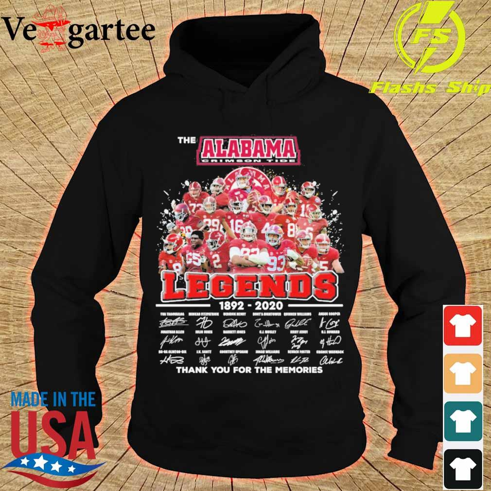 The Alabama Crimson Tide legends 1892 2020 thank You for the memories signatures s hoodie