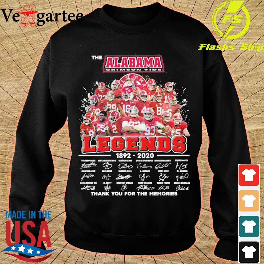 The Alabama Crimson Tide legends 1892 2020 thank You for the memories signatures s sweater