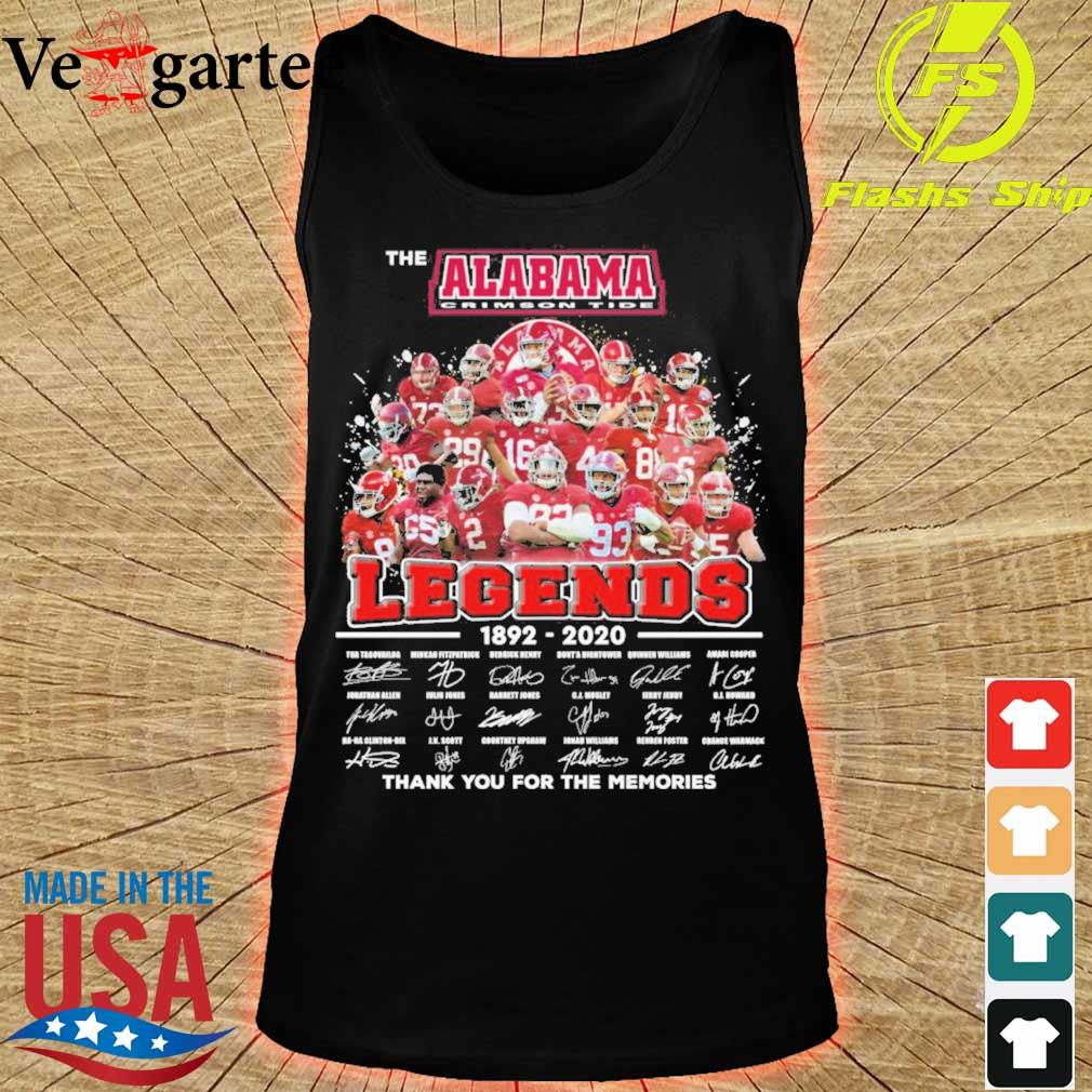 The Alabama Crimson Tide legends 1892 2020 thank You for the memories signatures s tank top