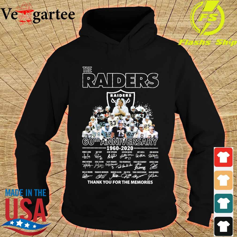 the Raiders 60th anniversary 1960 2020 thank You for the mamories signatures s hoodie