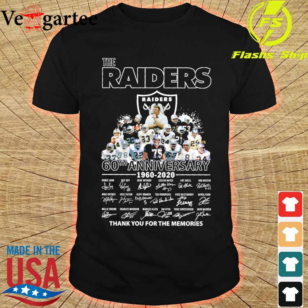 the Raiders 60th anniversary 1960 2020 thank You for the mamories signatures shirt