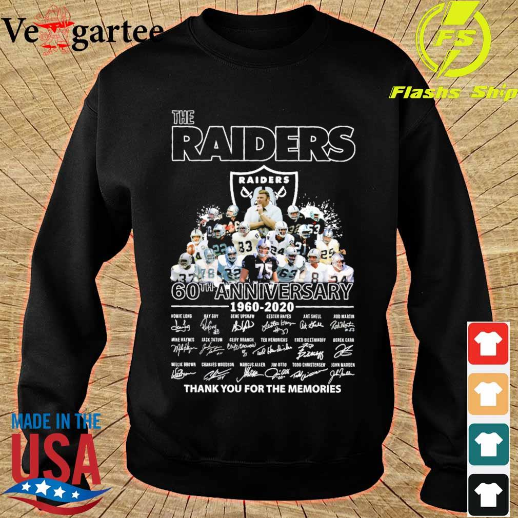 the Raiders 60th anniversary 1960 2020 thank You for the mamories signatures s sweater
