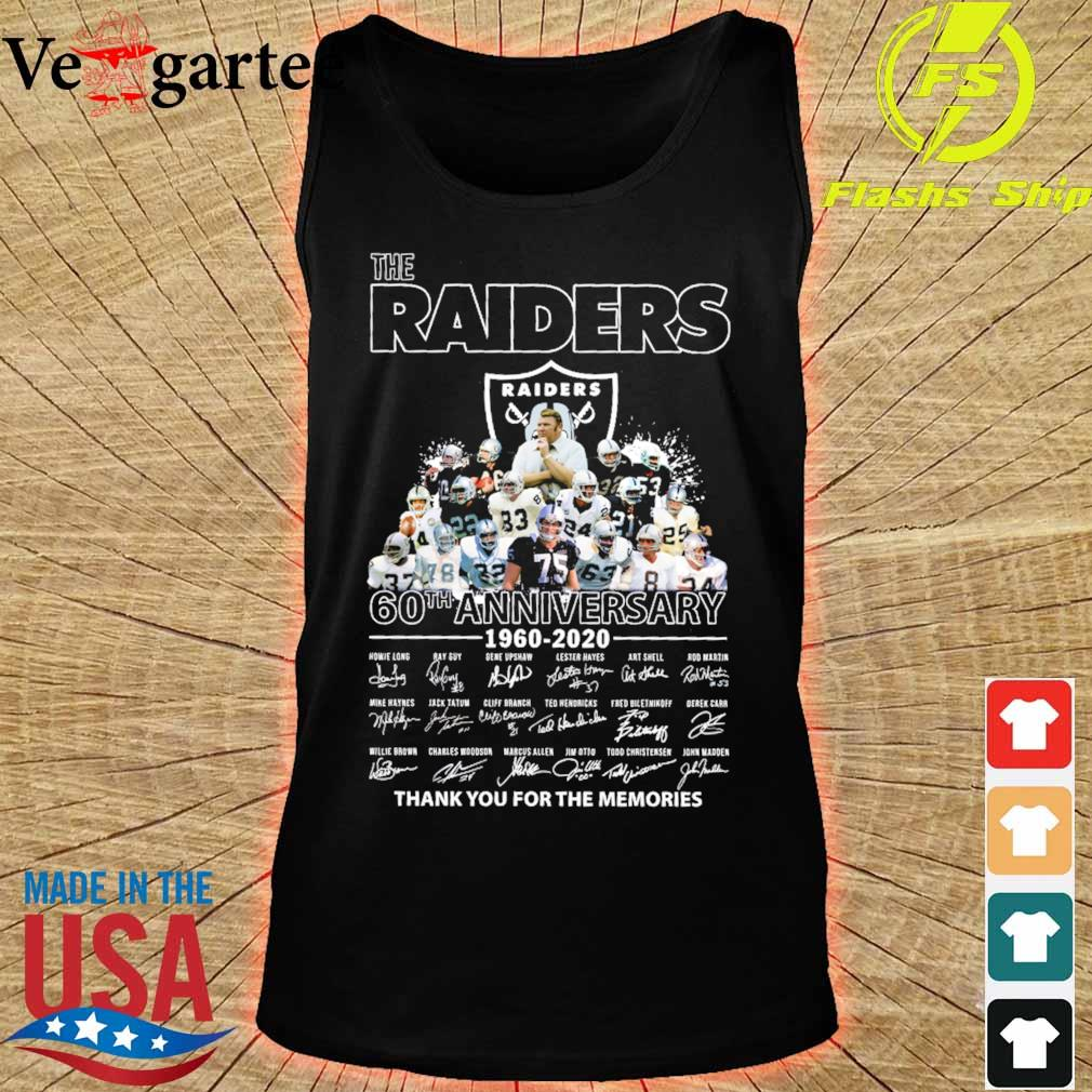 the Raiders 60th anniversary 1960 2020 thank You for the mamories signatures s tank top