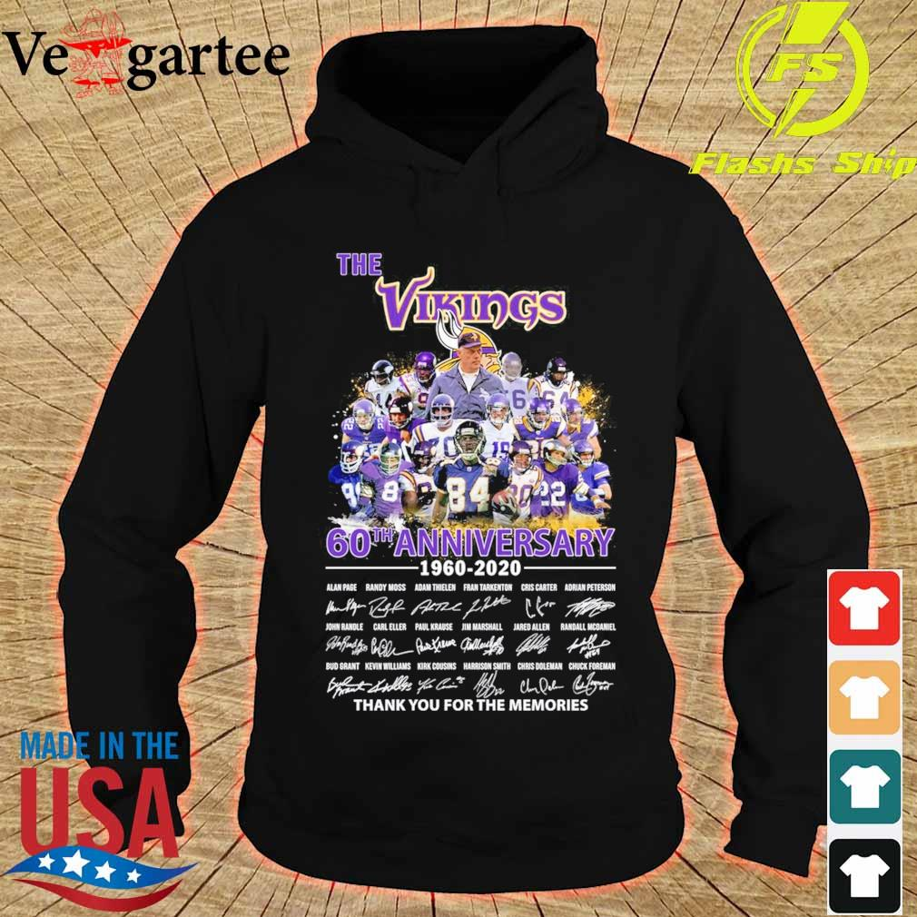 The Vikings 60th anniversary 1960 2020 thank You for the memories signatures s hoodie