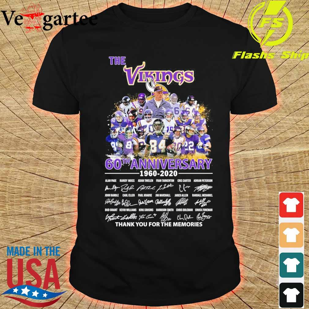 The Vikings 60th anniversary 1960 2020 thank You for the memories signatures shirt