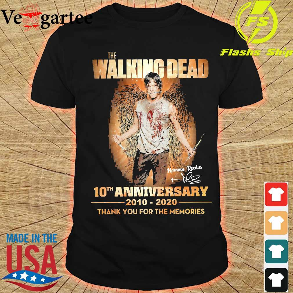 The Walking Dead 10th anniversary 2010 2020 thank You for the memories signature wings Shirt