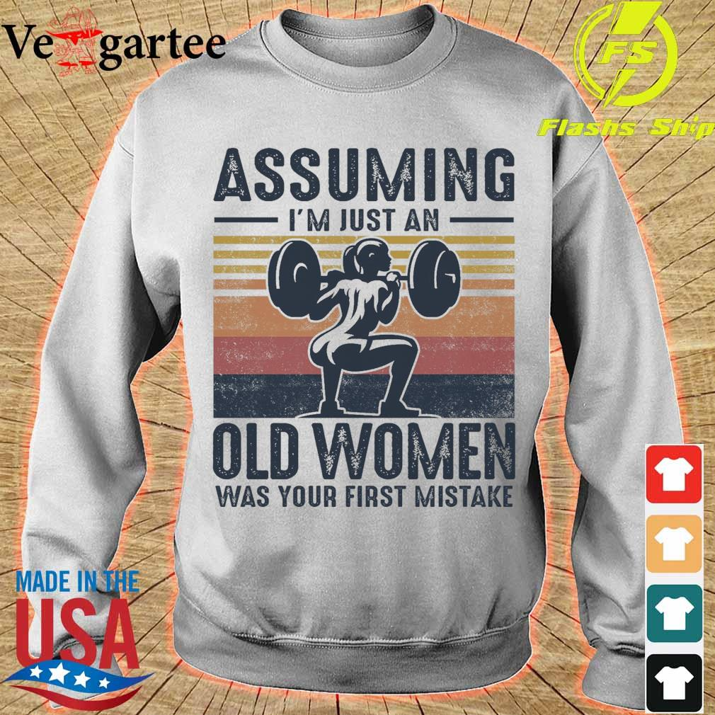 Weightlifting assuming i'm just an old lady was your first mistake vintage s sweater