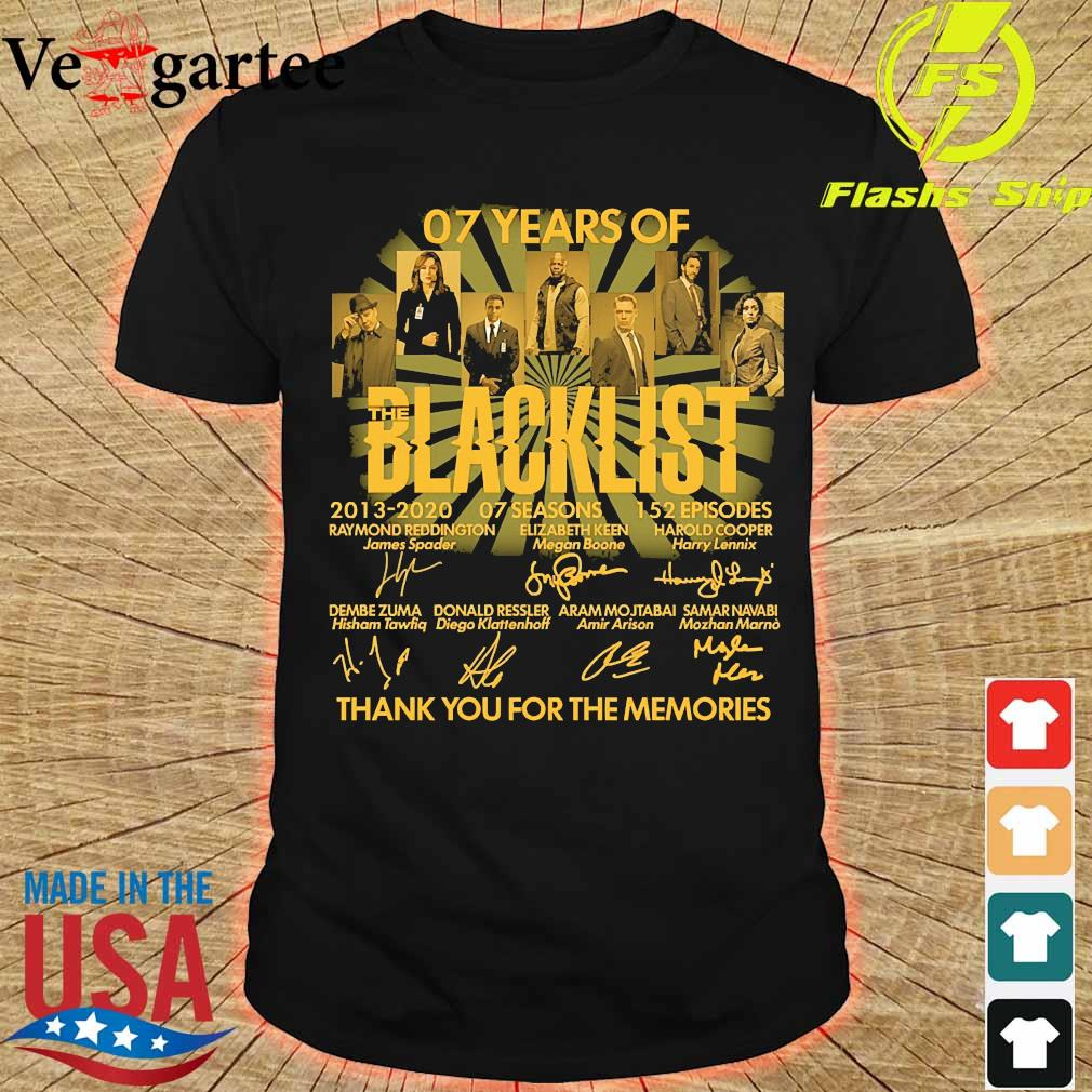07 Years of the Blacklist 2013 2020 07 seasons 152 episodes thank You for the memories signatures shirt