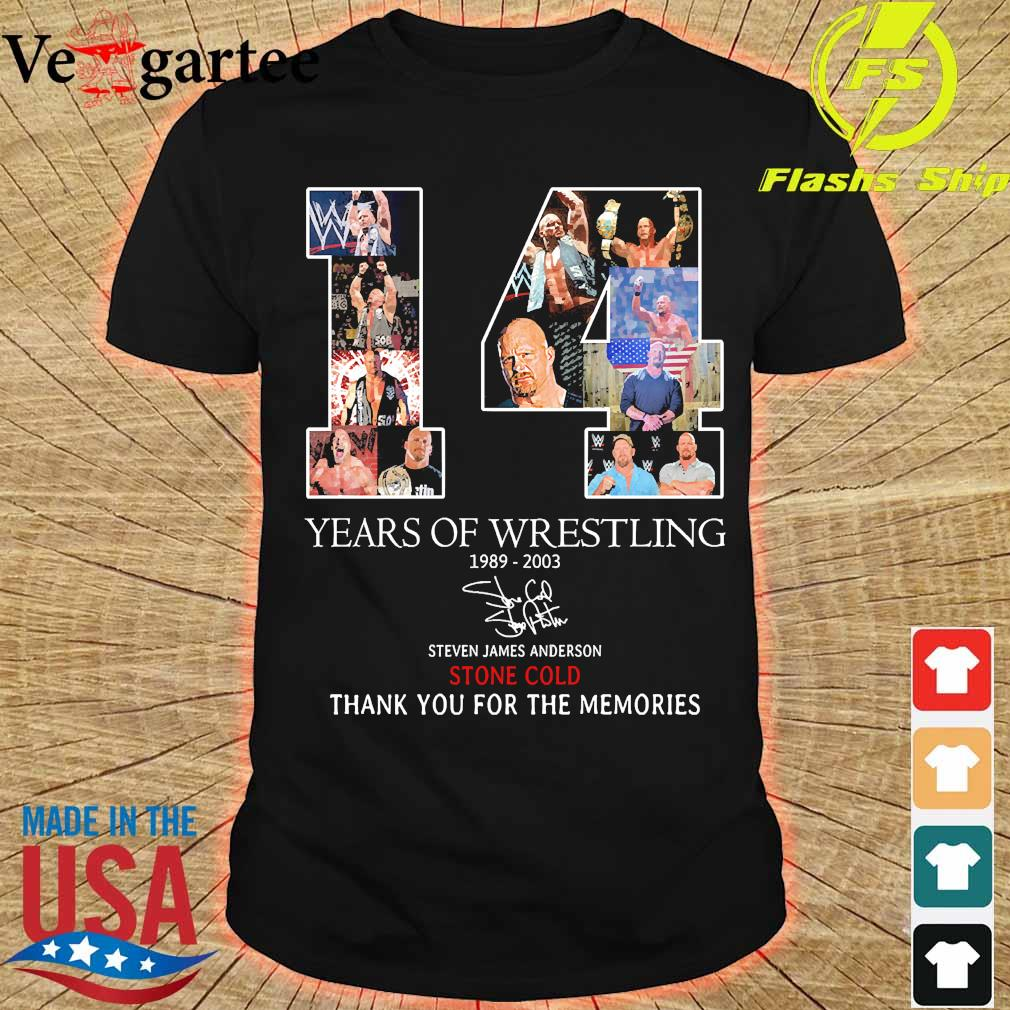 14 Years of Wrestling 1989 2003 Steven James Anderson Stone Cold thank You for the memories signature shirt