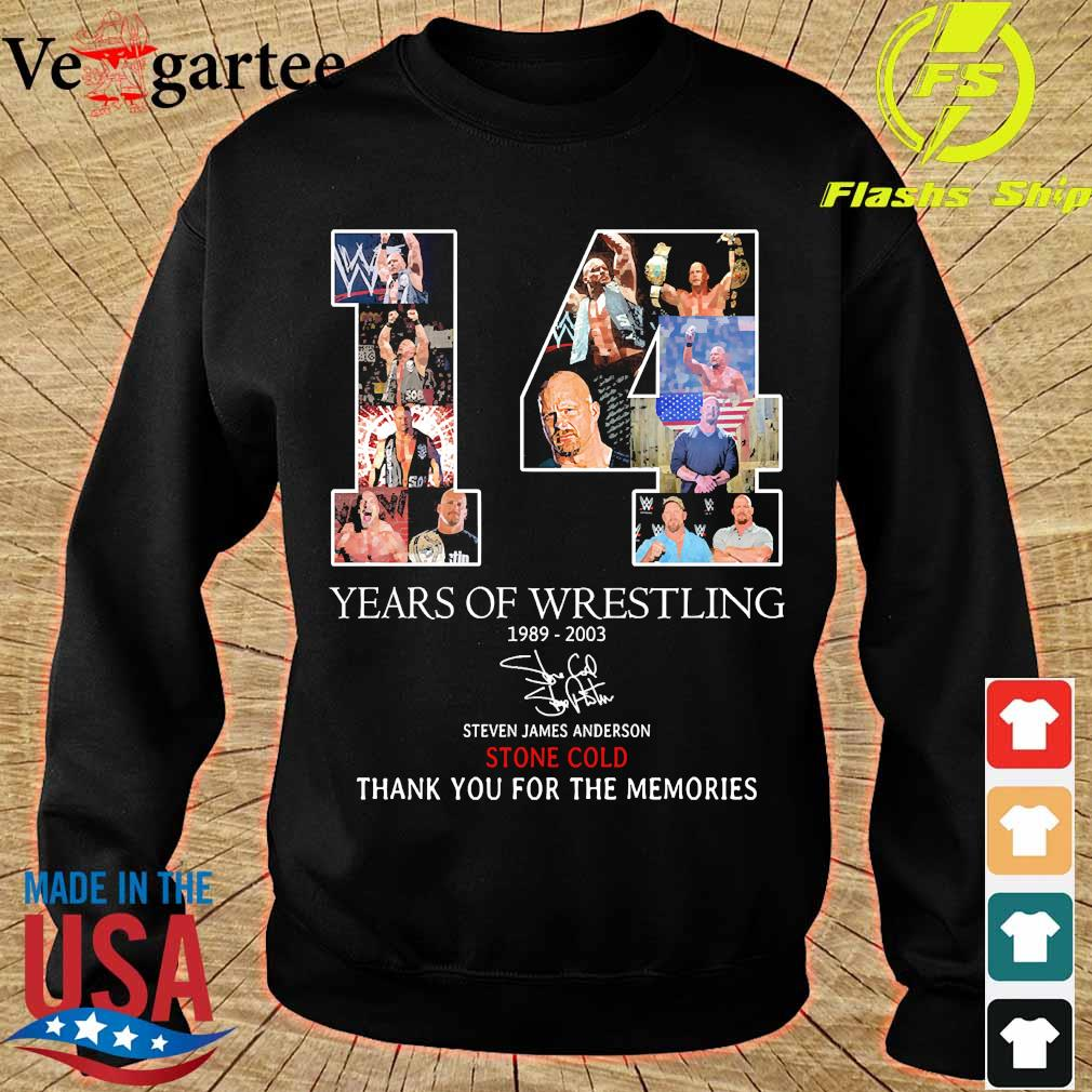 14 Years of Wrestling 1989 2003 Steven James Anderson Stone Cold thank You for the memories signature s sweater