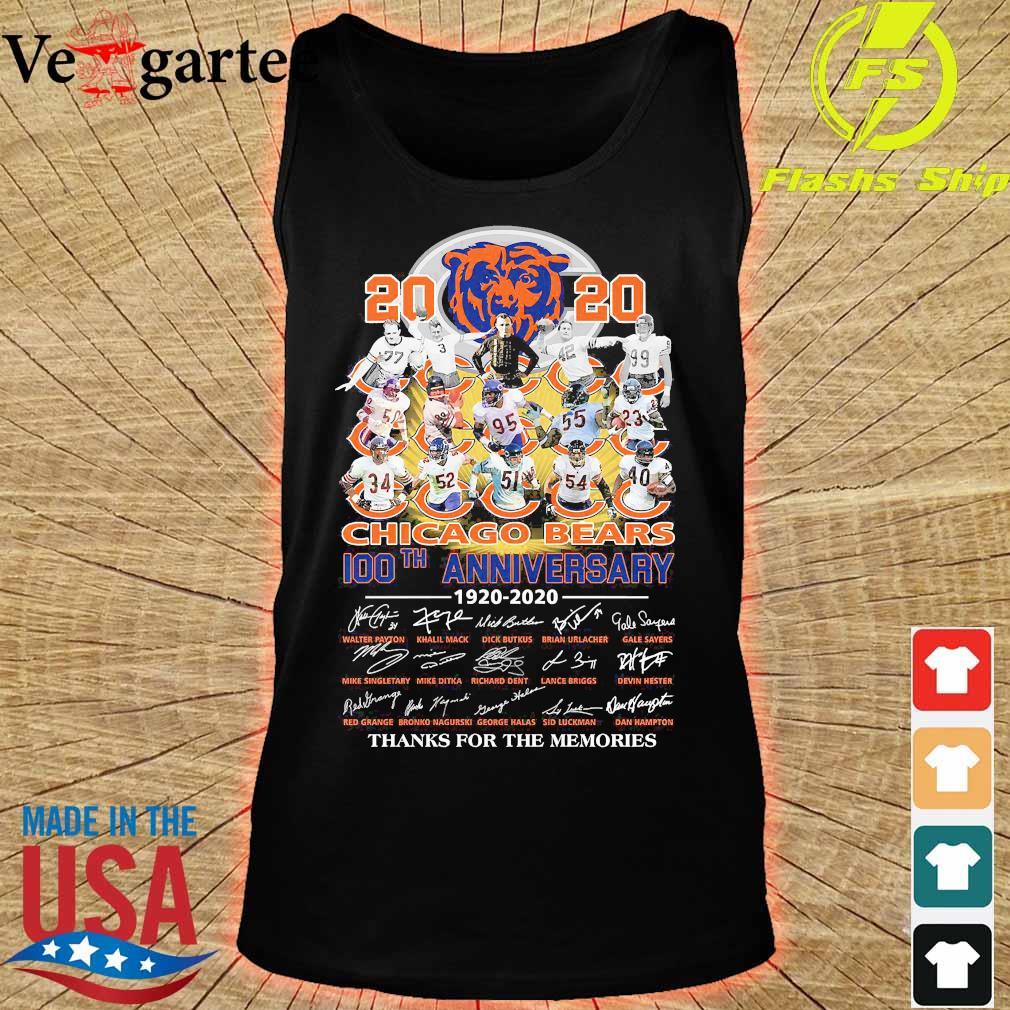 2020 Chicago Bears 100th anniversary 1920 2020 thank You for the memories s tank top