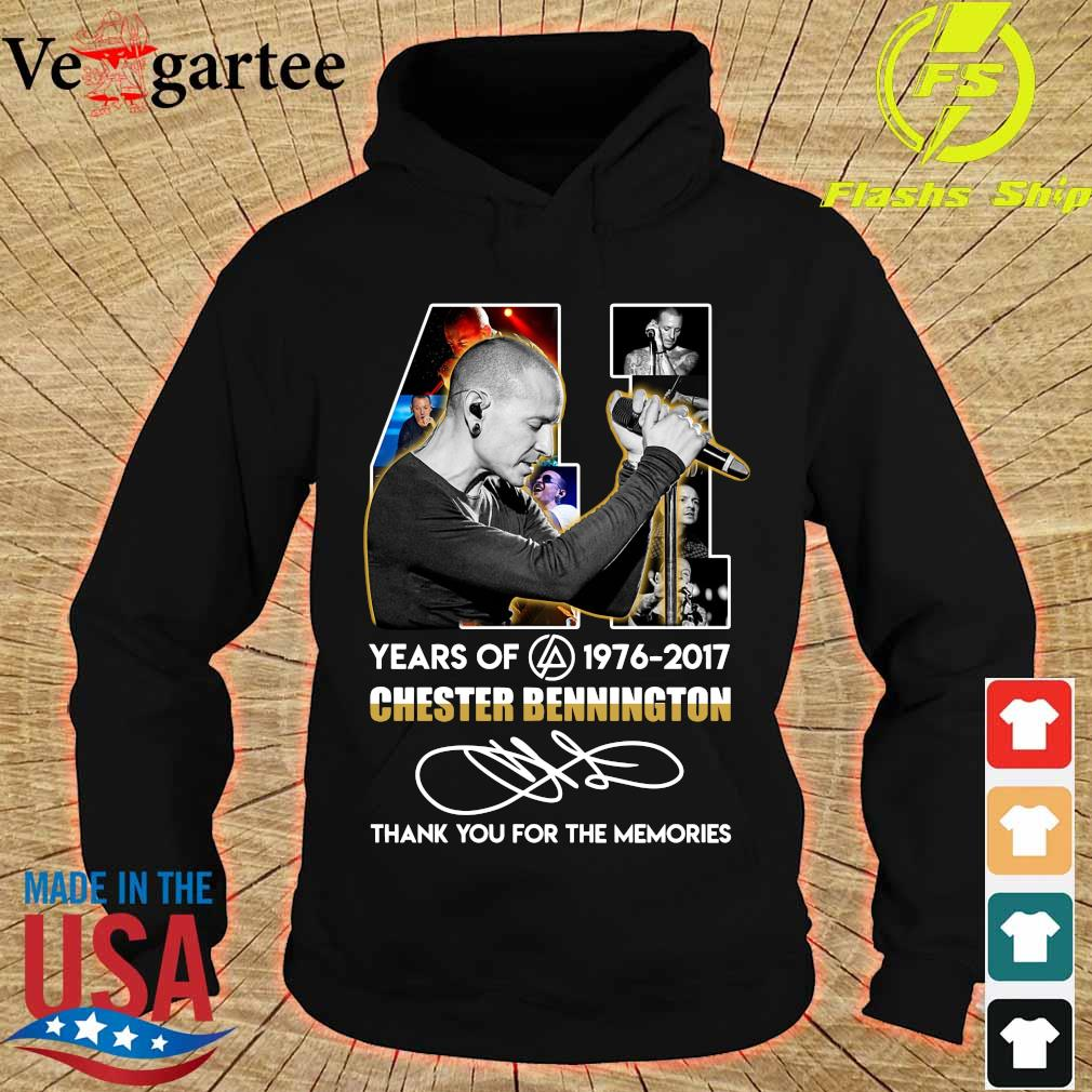 41 Years of Chester Bennington 1976 2017 thank You for the memories signature s hoodie