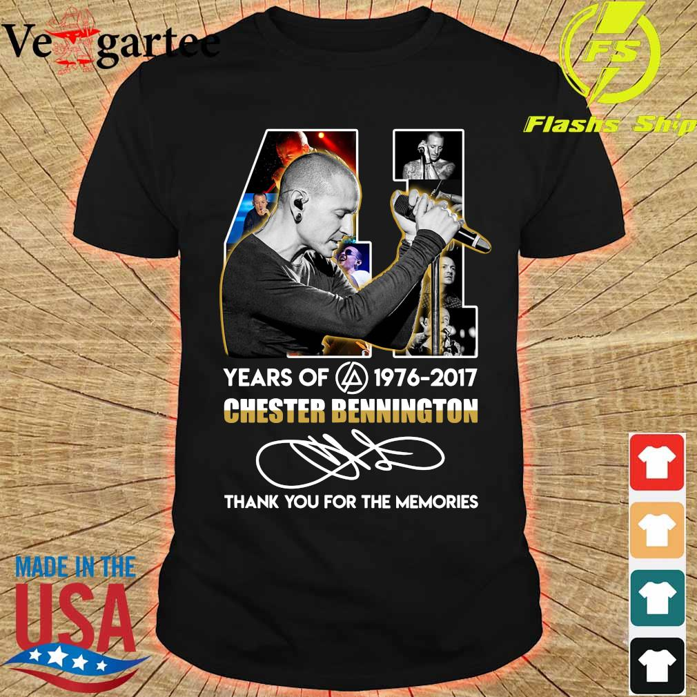 41 Years of Chester Bennington 1976 2017 thank You for the memories signature shirt