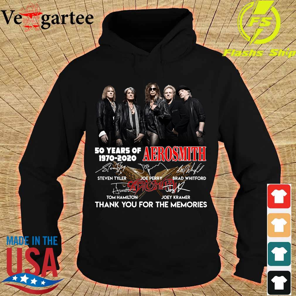 50 years of Aerosmith 1970 2020 thank You for the memories signatures s hoodie