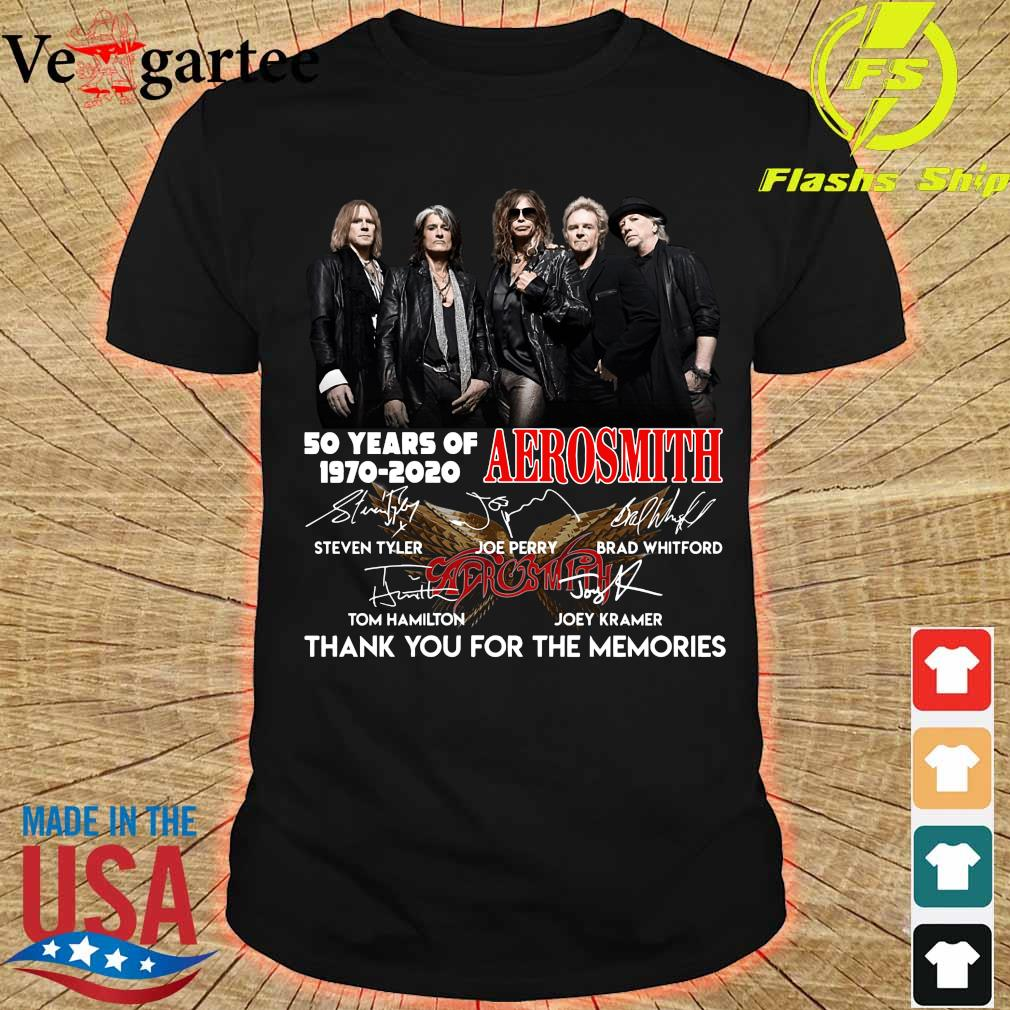 50 years of Aerosmith 1970 2020 thank You for the memories signatures shirt