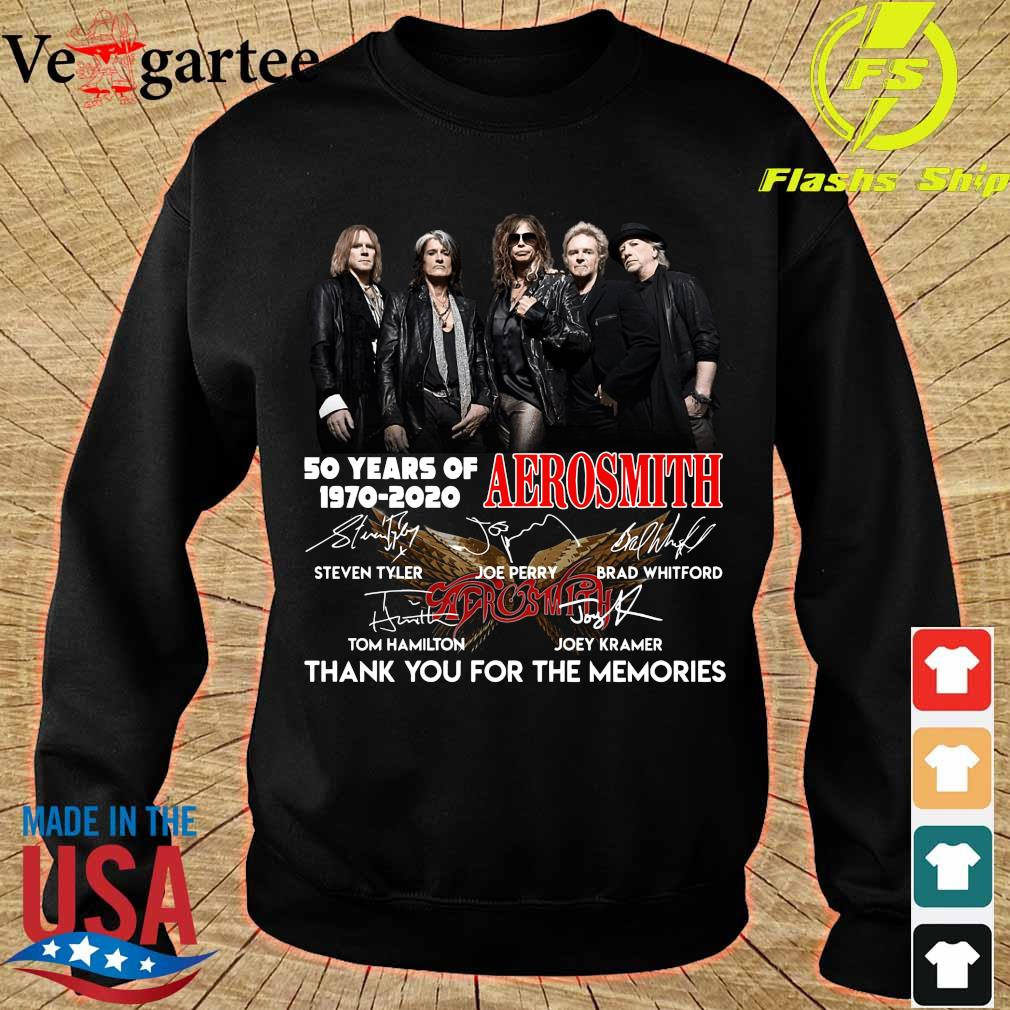 50 years of Aerosmith 1970 2020 thank You for the memories signatures s sweater