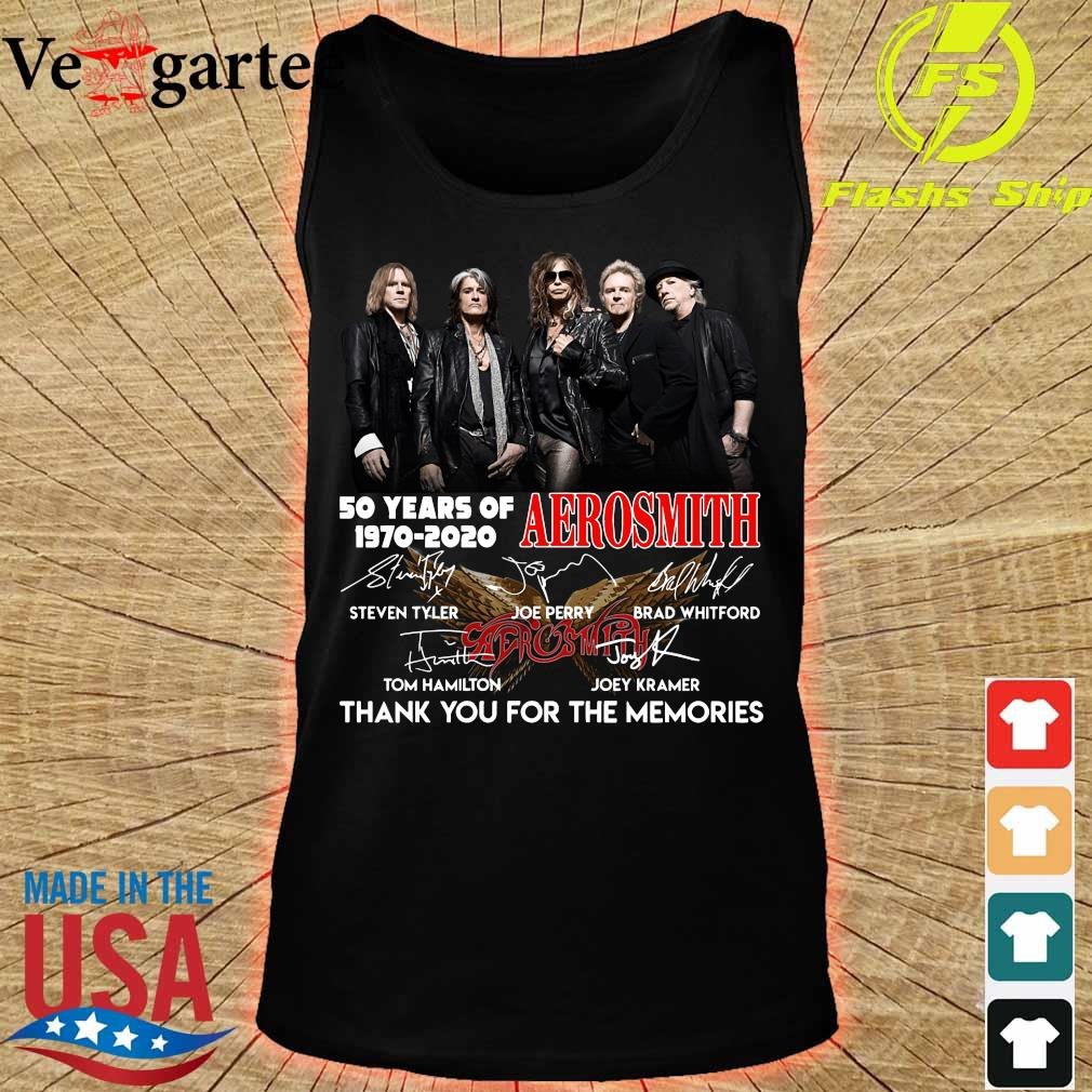 50 years of Aerosmith 1970 2020 thank You for the memories signatures s tank top