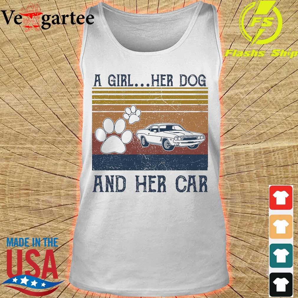 A girl Her Dog and her car vintage s tank top