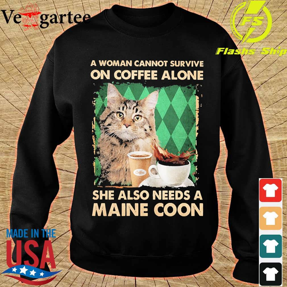 A woman cannot survive on coffee alone She also needs a maine coon s sweater