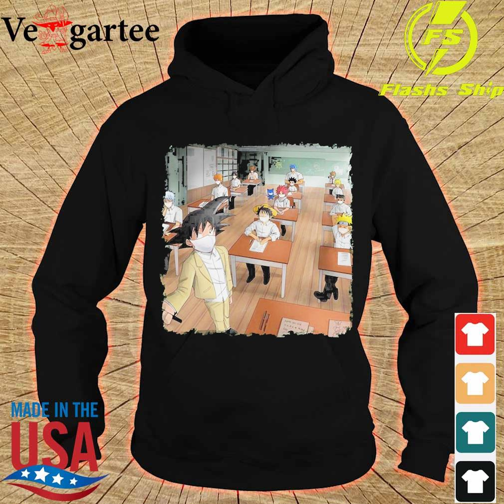 Anime characters face mask in classroom s hoodie