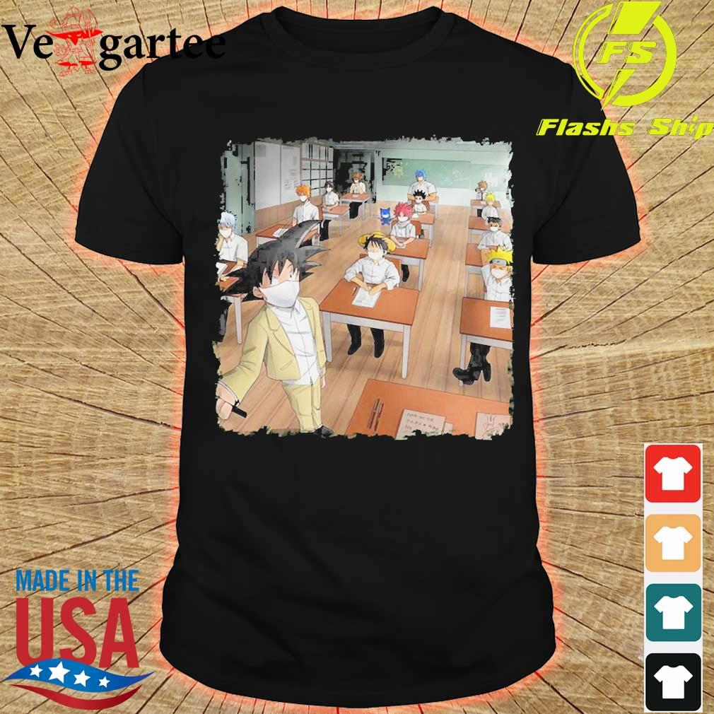 Anime characters face mask in classroom shirt