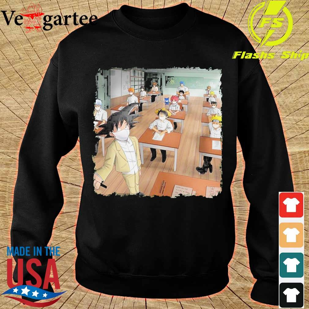 Anime characters face mask in classroom s sweater