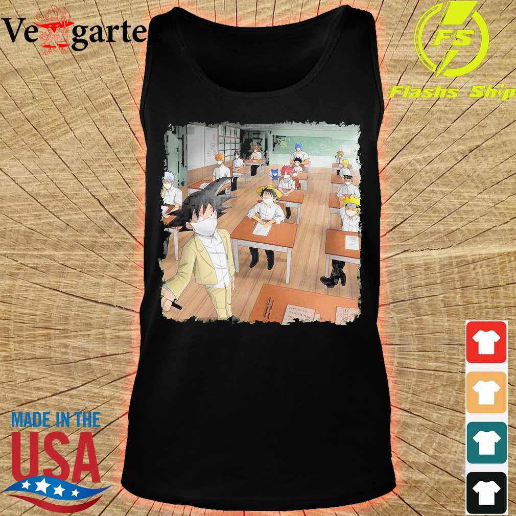 Anime characters face mask in classroom s tank top
