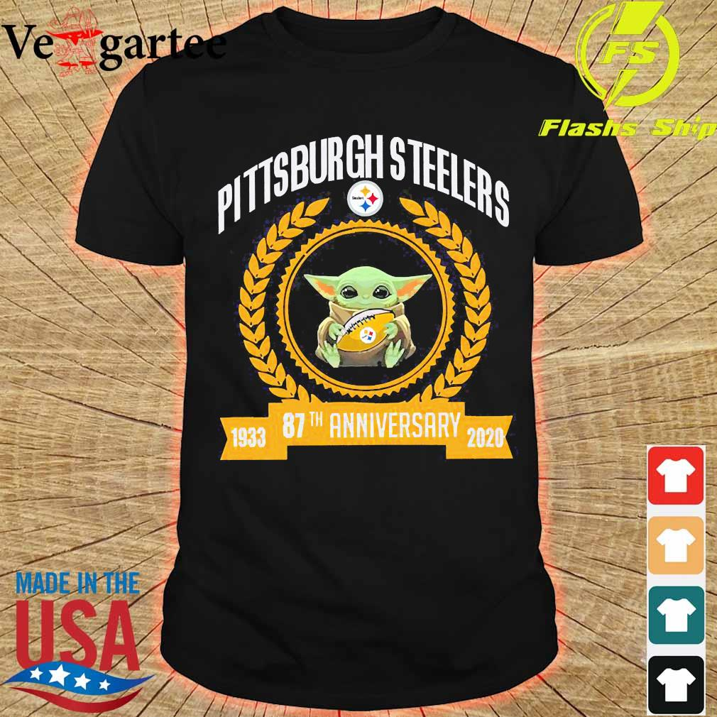 Baby Yoda hug ball steelers Pittsburgh Steelers 87th anniversary 1933 2020 shirt