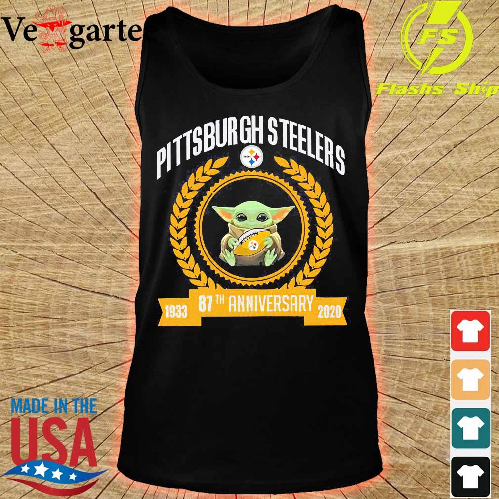Baby Yoda hug ball steelers Pittsburgh Steelers 87th anniversary 1933 2020 s tank top