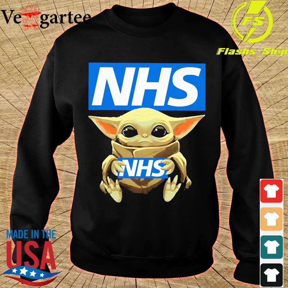 Baby Yoda hug NHS s sweater
