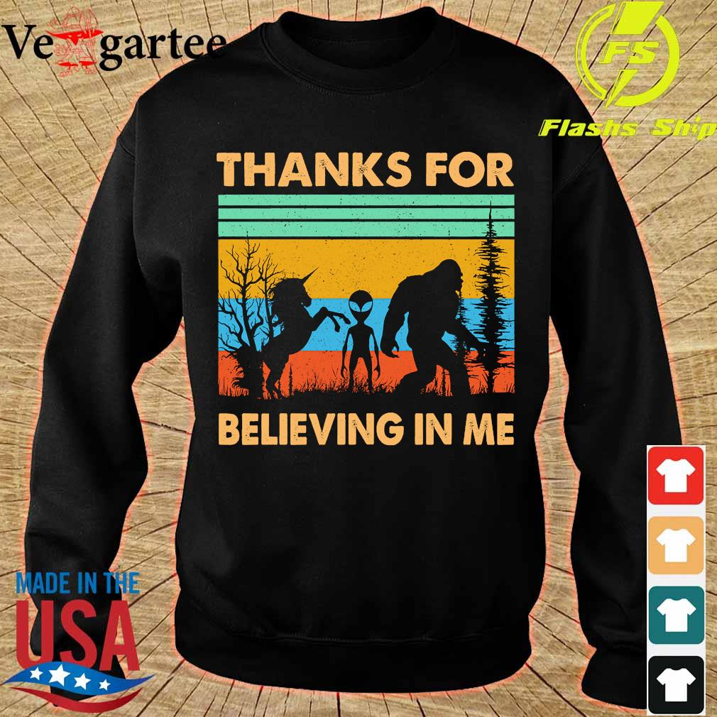 BIgfoot Alien Unicorn Thanks for believing in me vintage s sweater