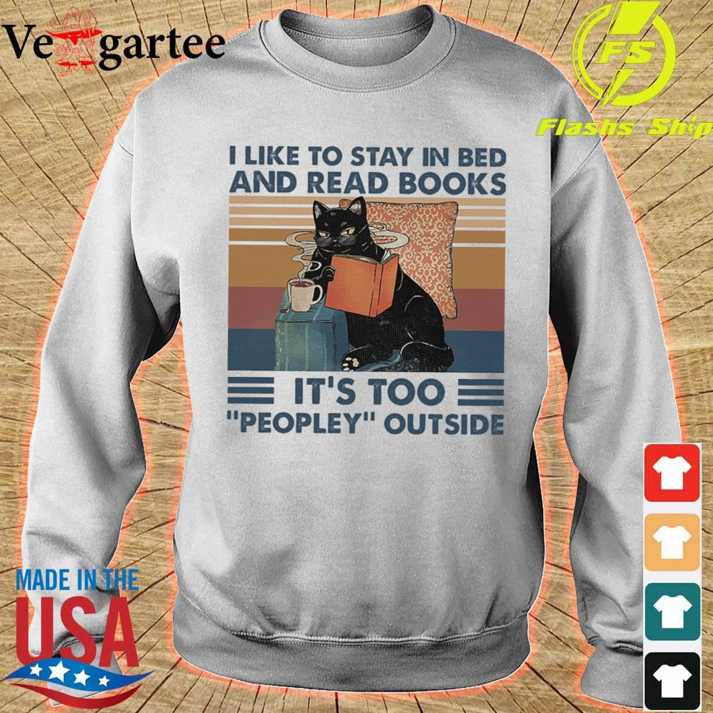 Black cat coffe I like to stay in bed and read books It's too peopley outside vintage s sweater