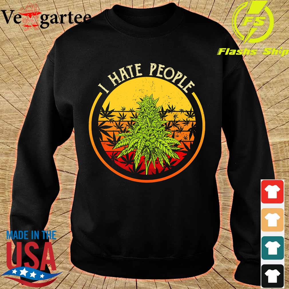 Cannabis I hate people vintage s sweater