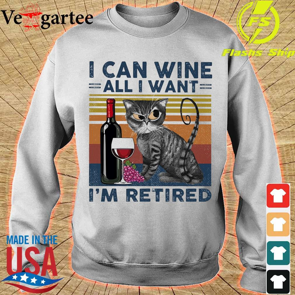 Cat I can wine all I want I'm retired vintage s sweater