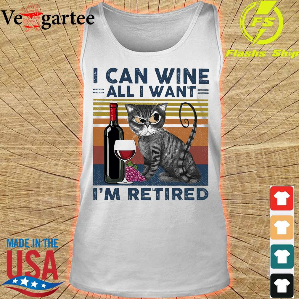 Cat I can wine all I want I'm retired vintage s tank top